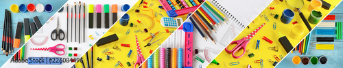 Fotomural Collage stationery / school supplies separated inclined lines