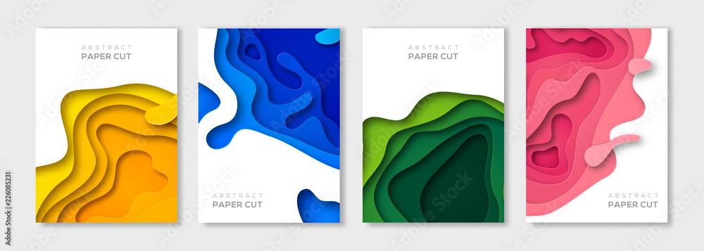 Fototapeta Vertical paper cut banners set