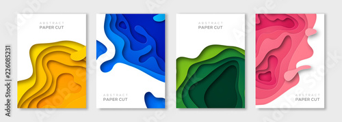 Fotografering Vertical paper cut banners set