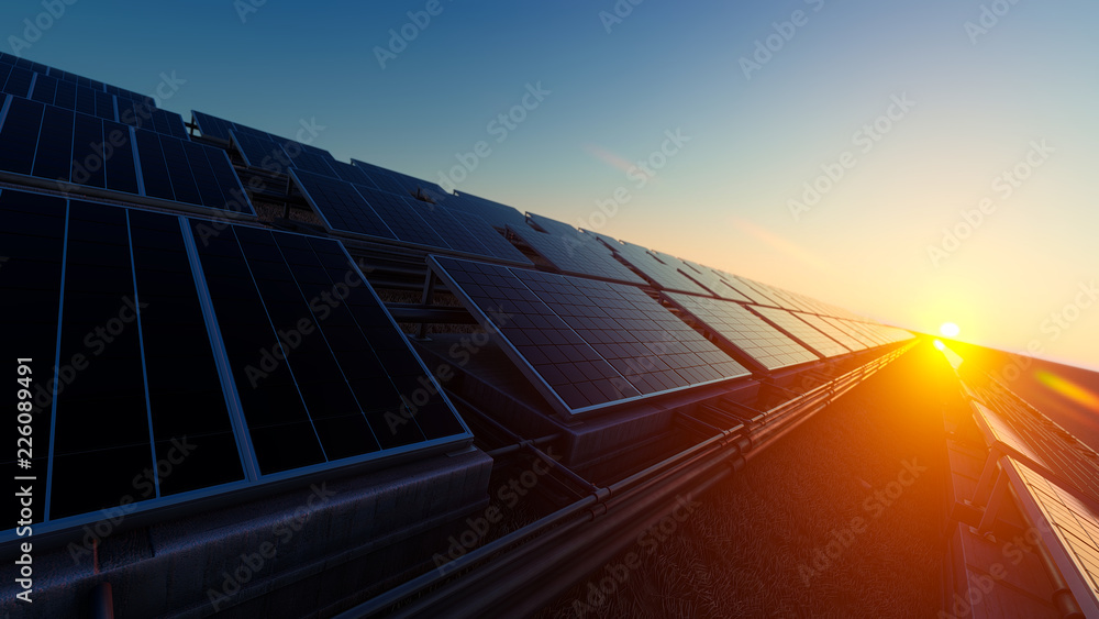 Fototapety, obrazy: Pipes and Solar Panels 3d rendering