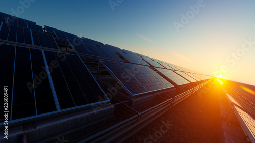 Fotografia  Pipes and Solar Panels 3d rendering