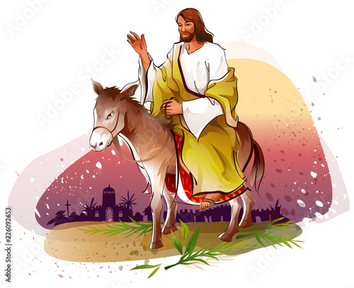 Photo Jesus Christ riding a donkey and blessing
