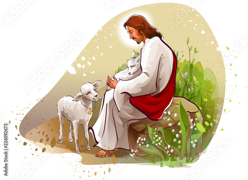 Stampa su Tela Jesus Christ sitting on a rock with two lambs