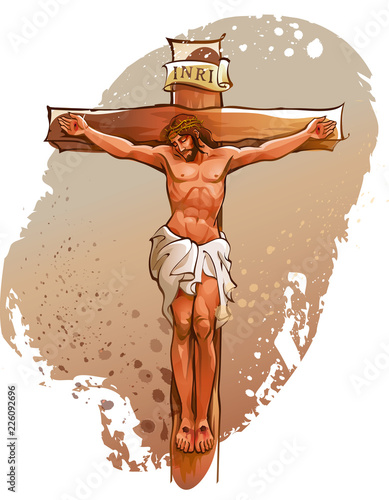 Jesus Christ nailed on the cross Poster Mural XXL