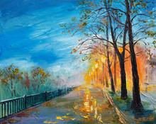 Oil Painting Of Evening Autumn Street