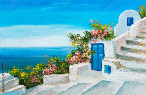 Stickers pour porte Bleu oil painting - house near the sea, colorful flowers, summer seascape
