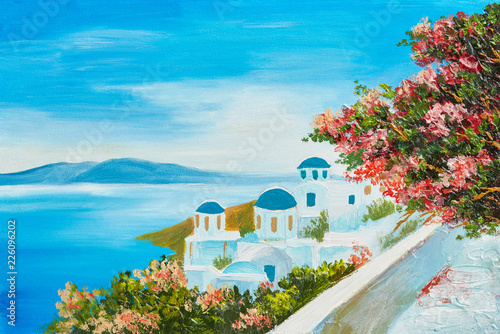 obraz-olejny-dom-blisko-morza-kolorowe-kwiaty-letni-pejzaz-morski