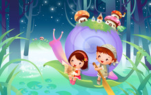 Boy And A Girl Floating On A Leaf With A Snail