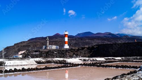 Deurstickers Canarische Eilanden Lighthouse Fuencaliente,.Faro de Fuencaliente, and salt flat mines, La Palma Island Canaries Spain