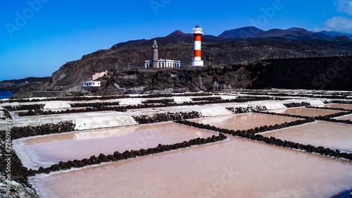 In de dag Canarische Eilanden Lighthouse Fuencaliente,.Faro de Fuencaliente, and salt flat mines, La Palma Island Canaries Spain