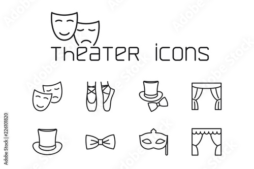 line theater icons set on white background Fototapete