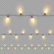 Christmas bulb garland horizontal seamless pattern isolated on transparent background. Vector design elements.