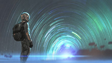 Science Fiction Scene Of The Astronaut Standing In Front Of Starry Tunnel Entrance, Digital Art Style, Illustration Painting