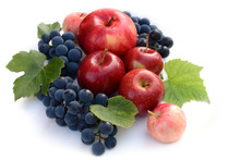Wine Grapes And Red Apples. Fr...