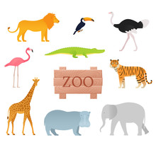 Zoo Animals. Vector. Animal Icon Set With Wooden Board. Cartoon Toucan Tiger Flamingo Lion Ostrich Giraffe Elephant Crocodile Hippopotamus. Colorful Illustration In Flat Design On White Background.