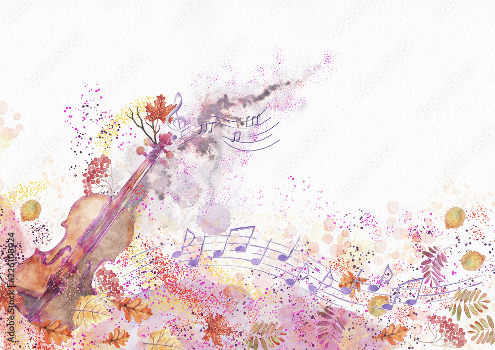 Fototapety, obrazy: Autumn concert. Watercolor background