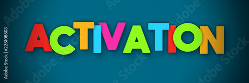 Activation - overlapping multicolor letters written on blue background Wallpaper Mural