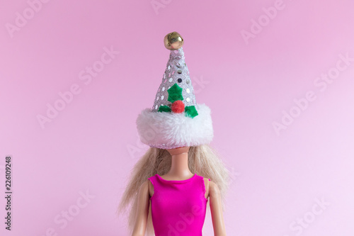 Minimalistic Christmas abstract isolated on rose. Tableau sur Toile
