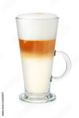 Glass of latte on white Poster Mural XXL