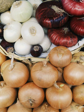 Close-up Of Various Onions For...