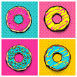 Set doughnut sweet food, donut cartoon pop art style. Vector colored illustration halftone pattern. Vintage retro design. Collection comic book bakery glazed crumpet poster.