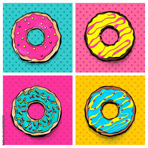 Set doughnut sweet food, donut cartoon pop art style. Vector colored illustration halftone pattern. Vintage retro design. Collection comic book bakery glazed crumpet poster.