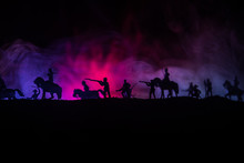 American Civil War Concept. Military Silhouettes Fighting Scene On War Fog Sky Background. Attack Scene.