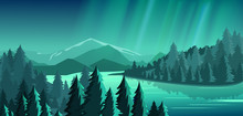 Vector Illustration Of Beautiful View With Forest, Mountains, Lake And Aurora Blue Sky With A Lot Of Star, Northern Lights. Travel Concept, Exploring The World.