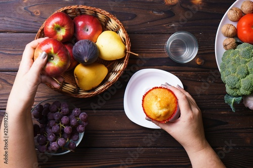 Obesity prevention, conscious eating, nutrition choices, mindfulness and healthy lifestyle Fototapeta