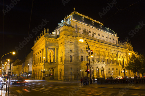 Staande foto Theater The night View on the Prague National Theater above the River Vltava, Czech Republic