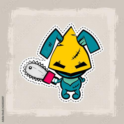 Halloween stitch bunny, rabbit zombie voodoo doll Poster Mural XXL