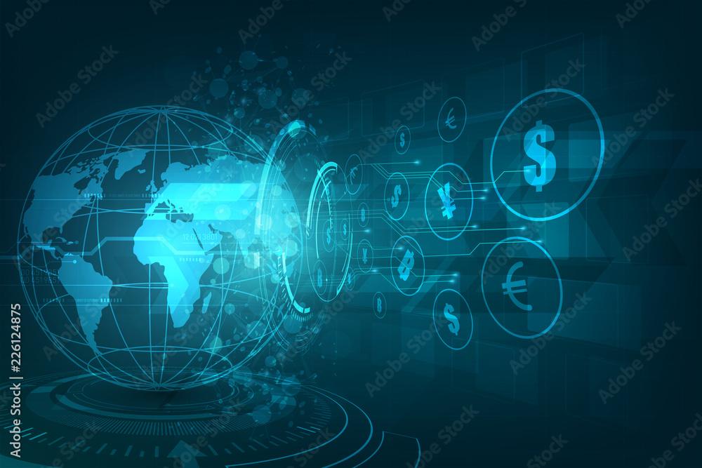 Fototapeta Money transfer. Global Currency. Stock Exchange. Stock vector illustration.