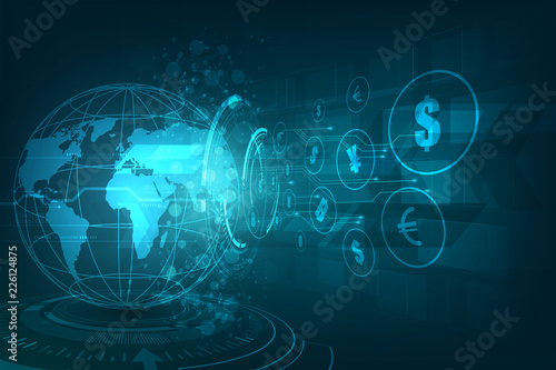 Fototapeta Money transfer. Global Currency. Stock Exchange. Stock vector illustration. obraz