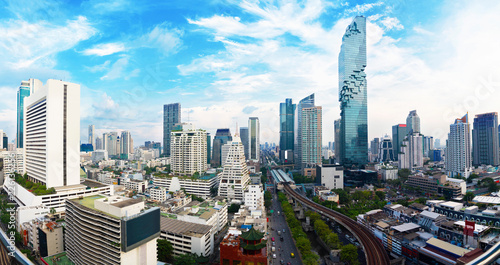 Photo Panorama view Cityscape tower in Bangkok city in Asia Thailand