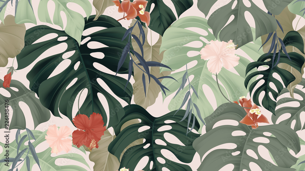 Fototapeta Floral seamless pattern, tropical plants, split-leaf Philodendron plant, hibiscus flowers, Weeping Willow leaves and Bougainvillea flowers on light pink background, pastel vintage theme