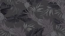 Floral Seamless Pattern, Black Bromeliaceae With Tropical Leaves On Black Background, Pastel Vintage Theme