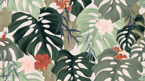 Obraz Floral seamless pattern, tropical plants, split-leaf Philodendron plant, hibiscus flowers, Weeping Willow leaves and Bougainvillea flowers on light pink background, pastel vintage theme - fototapety do salonu