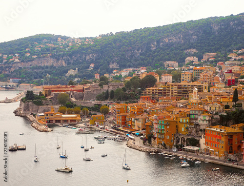 Fotobehang Nice Panoramic view of French Riviera near town of Villefranche-sur-Mer, Menton, Monaco (Monte Carlo), Côte d'Azur, French Riviera, France