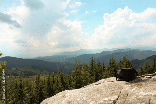 Foto op Aluminium Pool Beautiful landscape with rocky mountain slopes
