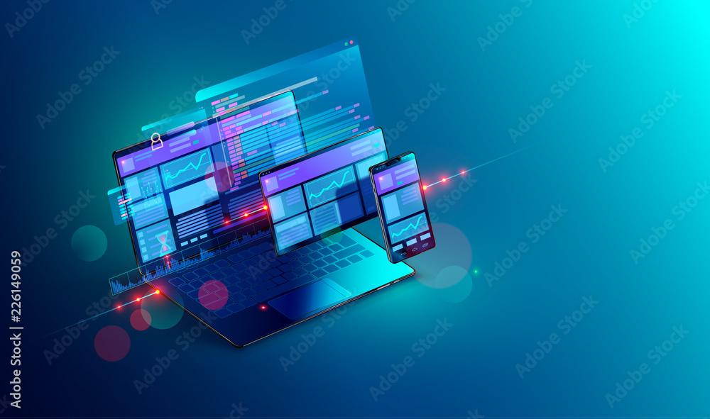 Fototapeta Web development and coding. Cross platform development website. Adaptive layout internet page or web interface on screen laptop, tablet and phone. Isometric concept illustration.