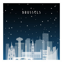 Winter Night In Brussels. Night City In Flat Style For Banner, Poster, Illustration, Background.