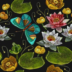 Panel SzklanyClassical embroidery pink and white lotuses, water lilies and butterfly, template fashionable seamless pattern clothes, t-shirt design vector. Water lily embroidery seamless pattern