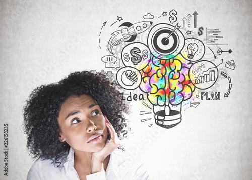 Obraz Thoughtful african american woman business idea - fototapety do salonu