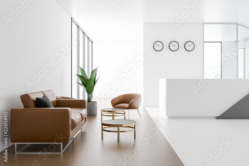 Company reception hall with leather sofas Fototapeta