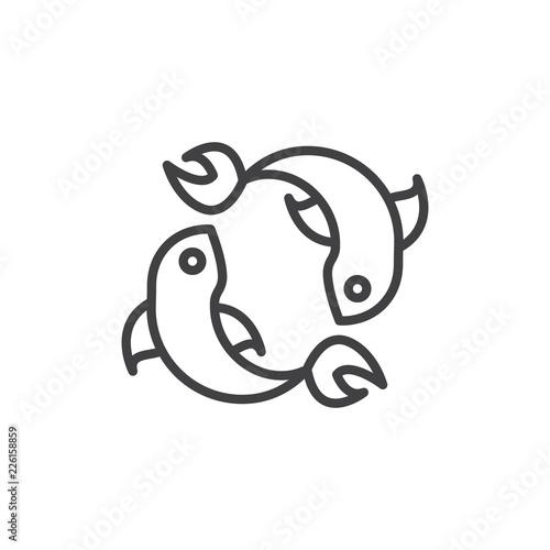 Pisces zodiac outline icon Wallpaper Mural