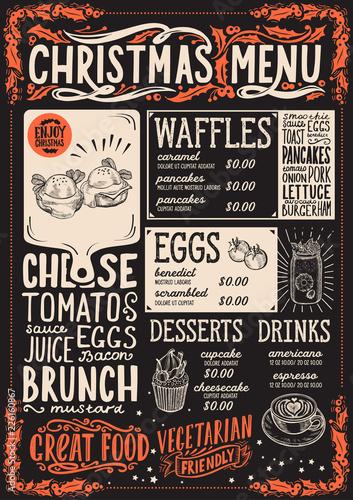 Christmas menu template for brunch on a blackboard. © marchiez