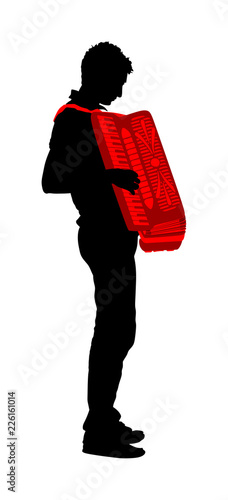 Fényképezés  Musician accordion man vector silhouette Illustration isolated on white background