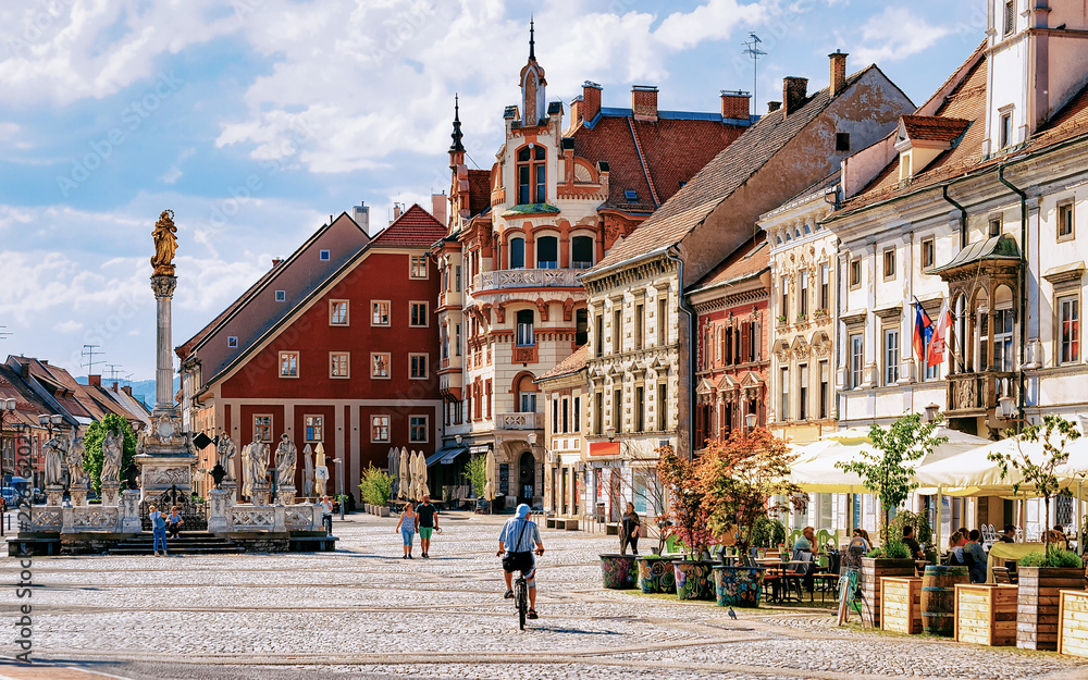 Fototapety, obrazy: Maribor Town Hall square Slovenia Europe. Maribor Town Hall and Plague Column on the central square, Lower Styria, in Slovenia