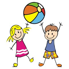Naklejka Do przedszkola Girl and boy with ball, funny vector illustration