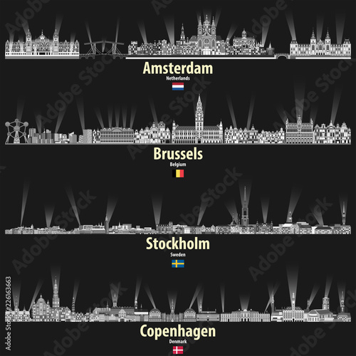 Canvas Print vector cityscapes of Amsterdam, Brusselsm Stockholm and Copenhagen in black and white color palette